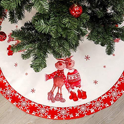 Falda de árbol de Navidad - Alfombra de adorno de árbol de Navidad de 120 cm para decoración de fiesta navideña (reno)