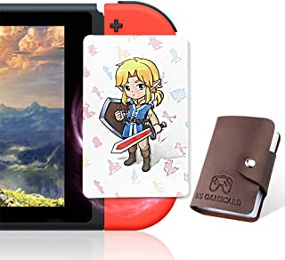 24 Pcs NFC Tag Game Cards for the BOTW, TLOZ Series NFC Tag Game Cards, Portable Leather Holder with Young Link for Switch/Lite Wii U