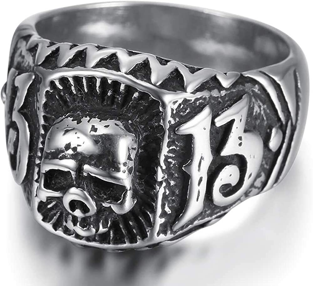 Jude Jewelers Stainless Steel Retro Vintage Antique Style Gothic Skull 13 Cocktail Party Biker Hiohop Punk Ring