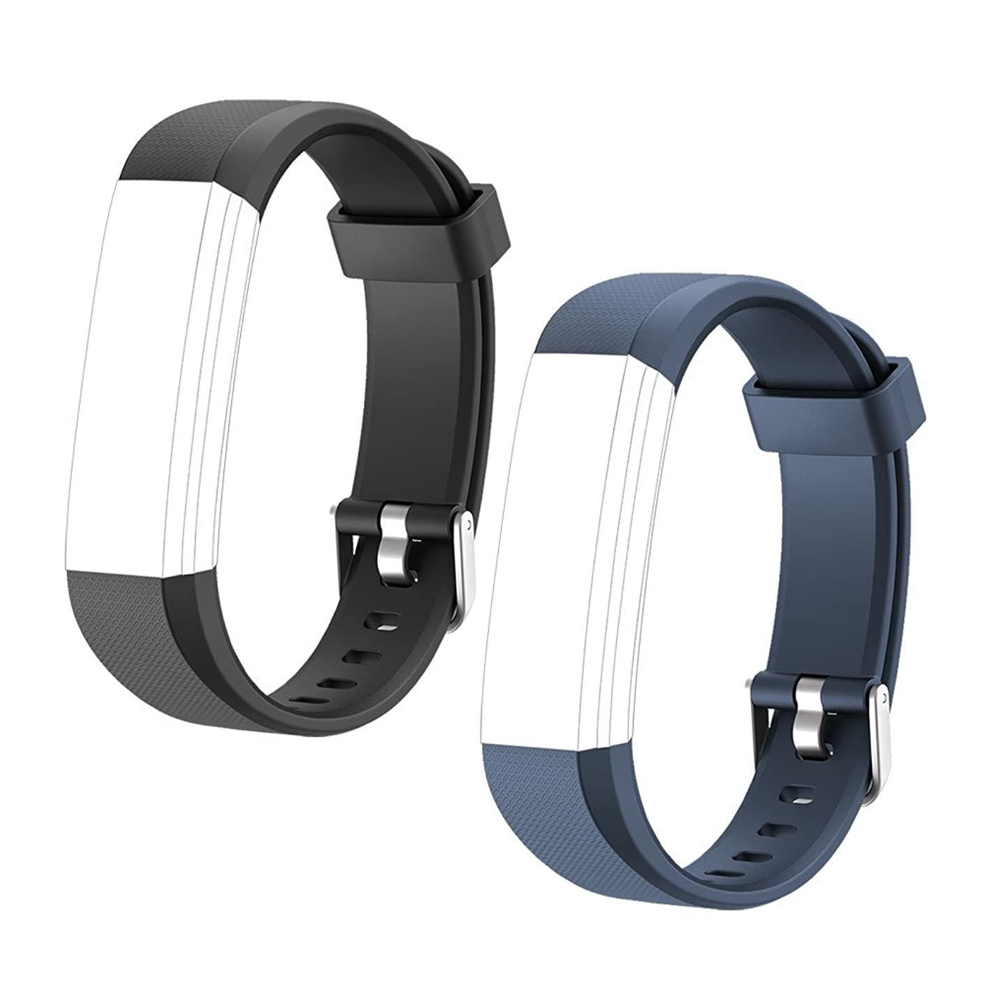LETSCOM Replacement Bands for Fitness Tracker ID115U or ID115UHR, 2 Pack (Black, Blue)