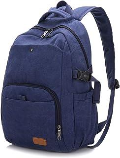 Unbekannt Rucksack aus Segeltuch, für Reisen im Freien, für Männer und Frauen, einfach, Marineblau Blau - P-70