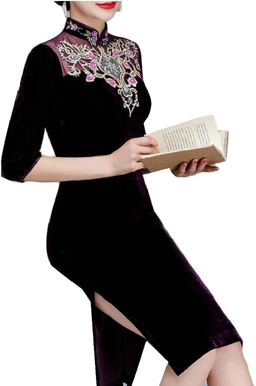 Jxfd Womens Short Sleeve Velvet Print Cheongsam Dresses Qipao