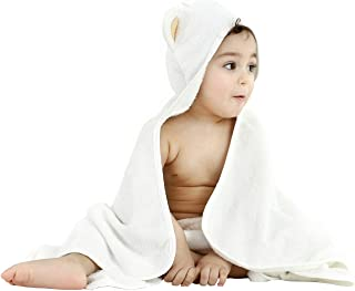 Organic Bamboo Hooded Baby Towel and WashCloth | Hooded Bath Towel Soft & Absorbent | Baby Essentials | Ideal Gift for Baby Boy, Baby Girl or Gender Neutral Baby Gifts