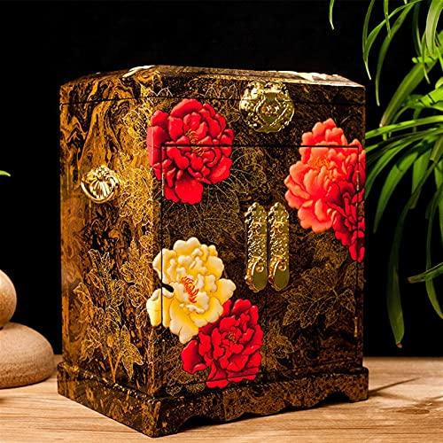 Jules Caja de madera hecha a mano con caja de joyería removible chino, caja de almacenamiento pintado laca artesanía caja de joyería, madera lacada y espejo de madera duplicado joyería de languidos de