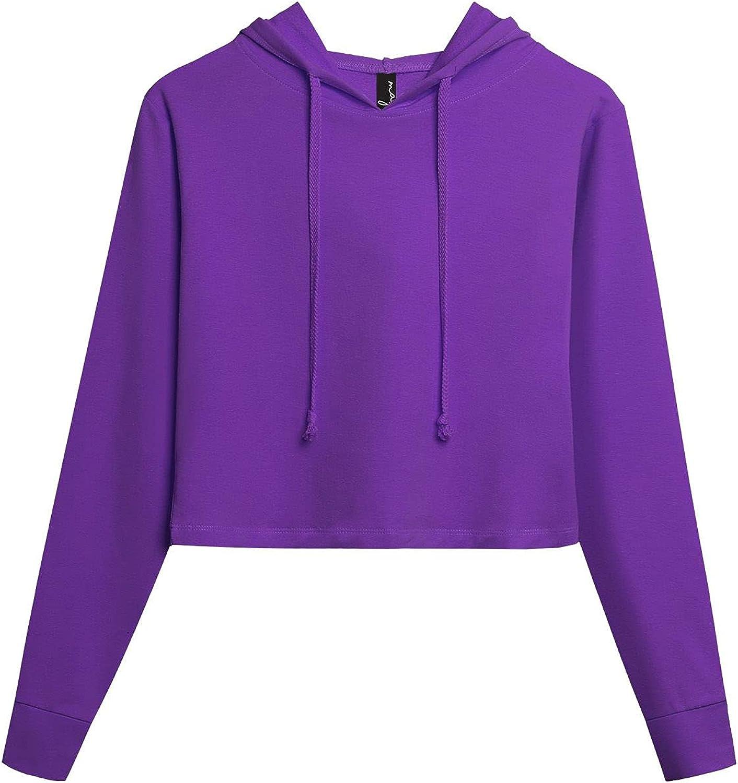 MAY VUE Women's Causal Long Sleeve Crop Top Drawstring Pullover Hoodie Sweatshirts