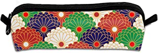 Pencil Bag Traditional Japanese Flower Pencil Case Pen Zipper Bag Pouch Holder Makeup Brush Bag for School Work Office