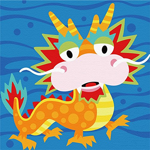 Wood Frame, DIY Oil Painting Kit, Paint by Numbers for Kid Painting Beginner Animal Dragon - 8'X 8'