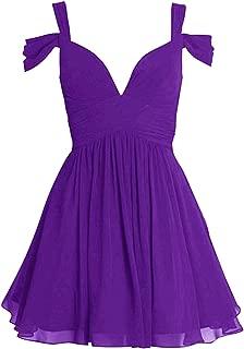 Short Bridesmaid Dresses Off-Shoulder Chiffon Cocktail Dress V-Neck Evening Gowns