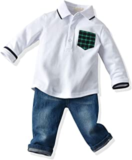Baby Boys Outfit, Long Sleeves Polo Shirt and Jeans Set