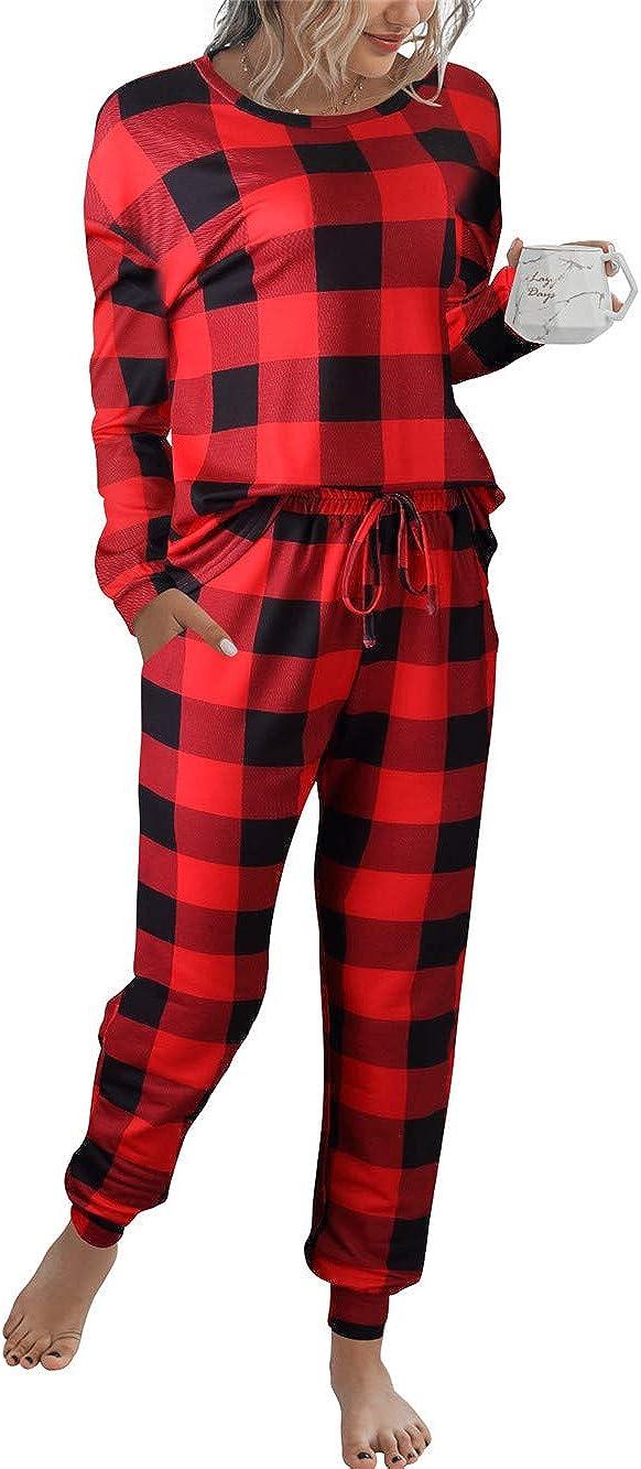 Prinbara Women's Pajama Sets Christmas Pajamas Long Sleeves Pullover Sleepwear Set 2 Pcs Lounge Jogger Set Nightwear