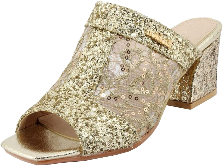 JOJONUNU Women Comfort Block Heel Mules Sandals