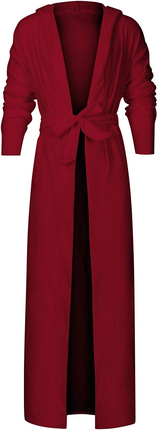 Mens Extra Long Nightgown with Belt Spring Home Bathrobe Solid Color Open Front Bath Robe Sleepwear for Men Red