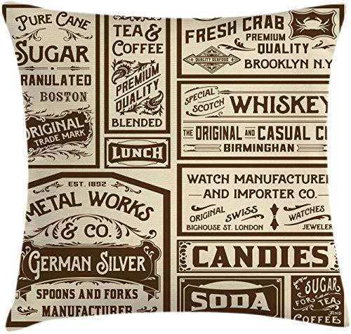 BONRI Vintage Throw Pillow Cojín, Mega Pack Diseños de anuncios Antiguos Ilustración de caligrafía de Estilo Retro, Funda de Almohada Decorativa Cuadrada Decorativa, Marrón Crema , (16'x16 / 40x40cm