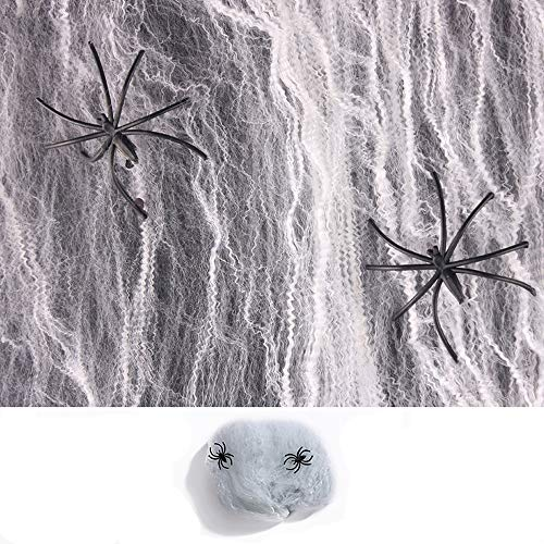 CHOP MALL Halloween Jokes Fake Spider Web (250sqft) White Super Stretch Spider Webbing for Indoor and Outdoor Halloween Decorations 30 Extra Spiders