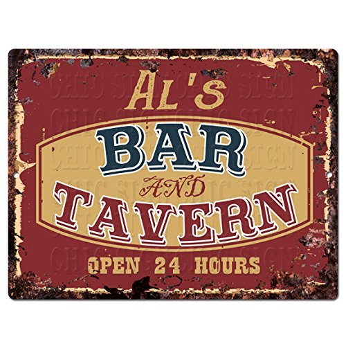Chic Sign AL'S BAR and TAVERN Tin Rustic Vintage style Retro Kitchen Bar Pub Coffee Shop Decor 9'x 12' Metal Plate Sign Home Store man cave Decor Gift