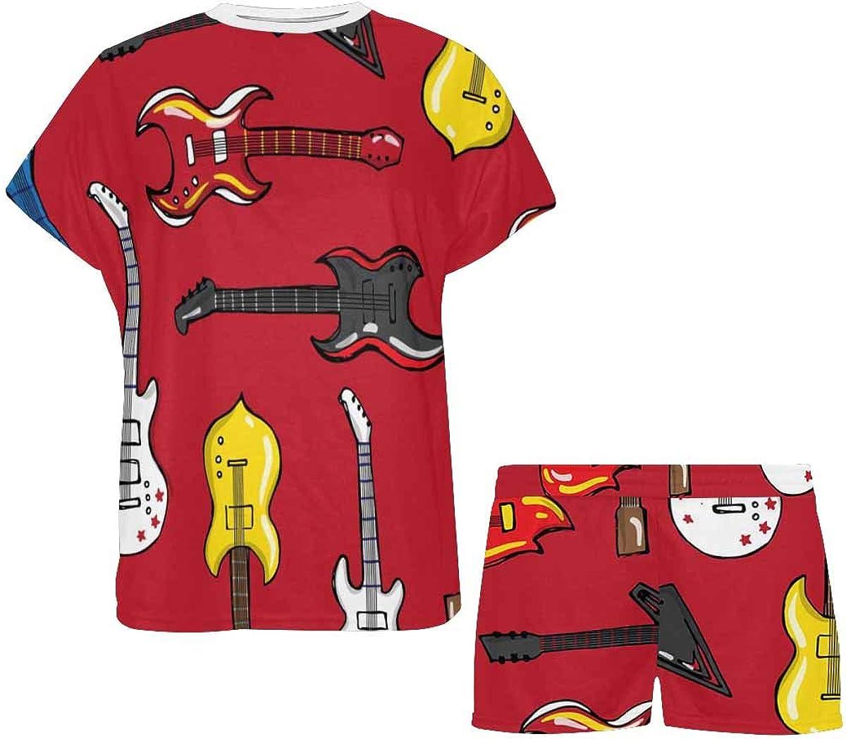 InterestPrint Guitars Different Shapes Women's Lightweight Pajama Set, Short Summer Pjs