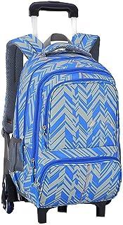 KJRJLG Girls Rolling Backpack Wheeled Backpack Trolley School Bag Travel Luggage (Color : Blue)