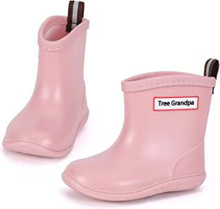 Tree Grandpa Toddler Rain Boots Baby Kids Easy-on Rain shoes Children Waterproof Shoes for Boys Girls(1-6 Years)