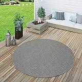 Paco Home In- & Outdoor Flachgewebe Teppich Terrassen Teppiche Natürlicher Look In Grau, Grösse:Ø 160 cm Rund