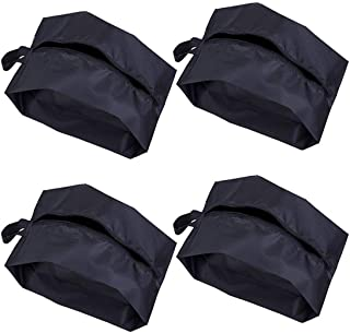 Portable Nylon Travel Shoe Bags with Zipper Closure - Packing Cubes, Storage Organizer (Pack 4, Black)