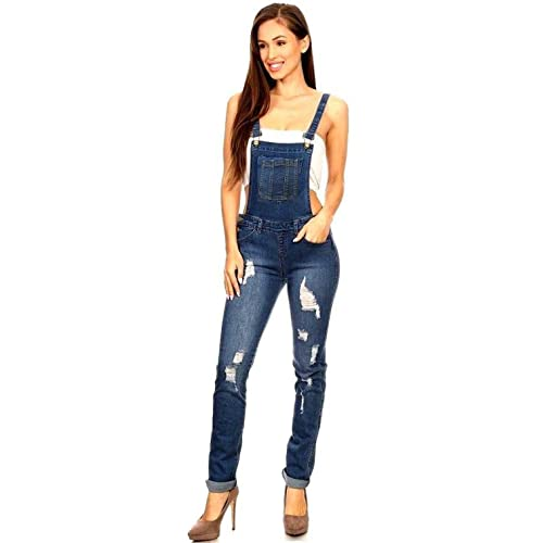 0c8e1385768f WOMENS Juniors Plus Size BLUE Denim JEANS Distressed Overall Long Stretch  Skinny Pants Jumper