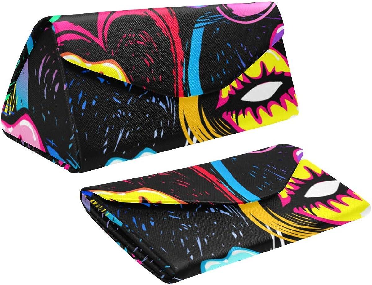 Eyeglass Cases Custom Fashion beauty Lips Painted Hard Shell Foldable Portable Glasses Case