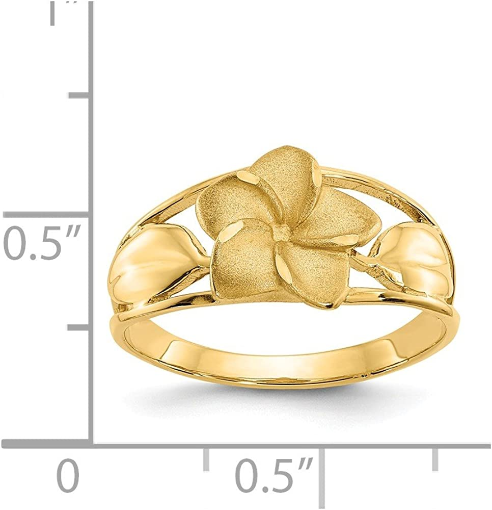 14k Yellow Gold Plumeria Band Ring Size 7.00 Flower Leaf Fine Jewelry For Women Gifts For Her