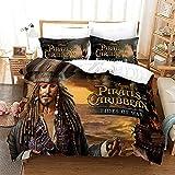BMKJ Juego de ropa de cama infantil con diseño de Piratas del Caribe, 3 fundas de edredón y 2 fundas de almohada (135 x 200 + 2 x 80 x 80 cm)