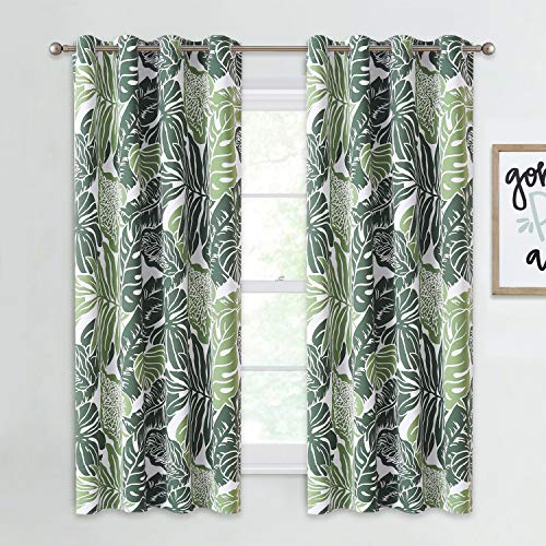 NICETOWN Leaf Patterned Room Darkening Bedroom Curtains, 63 inches Medium Long Panels Natural Style Light Blocking Window Treatment for Home Decor, W52 inches, Set of 2, Green Palm