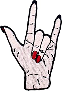 I Love You Hand Symbol Funny Biker Patch Embroidered Badge Iron On Sew On Emblem