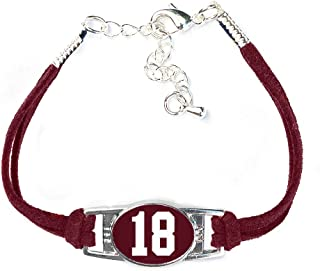 Number Charm Bracelet (00-99) Jersey Style in Team Colors (Maroon & White)