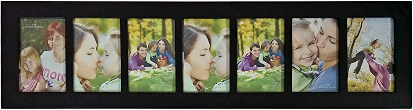 Adeco 7 Openings Black Wood Multi-Angled Wall Hanging College Picture Photo Frame, Made to Display Seven 4 x 6 Inches Images