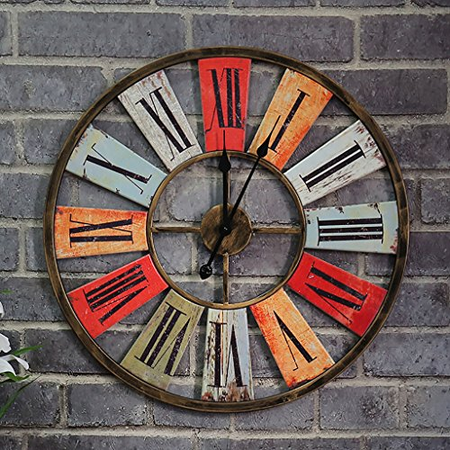 JLRQY Orologio Da Parete Iron Art Rural Vintage Industrial Wind Decoration Large Clock Per Bar Coffee Shop,68*68Cm