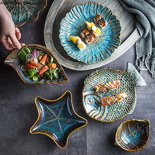 PPuujia Plato de cena de cerámica irregular, flores/hojas/vieiras/estrellas de mar/concha/pescado en forma de vajilla decorativa Platos de cena Platos de sushi (color: hojas 23,2 x 13,2 cm)