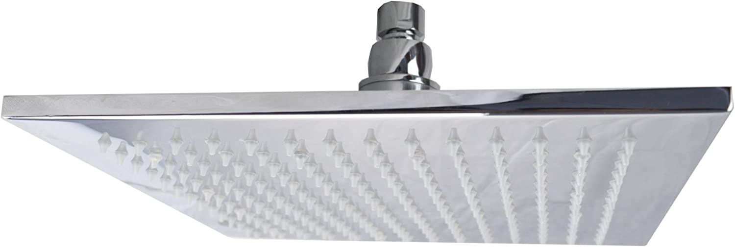 Nes Home   Bathroom Fixed Chrome Rainfall Shower Square Head with Rubber Nozzles 250mm