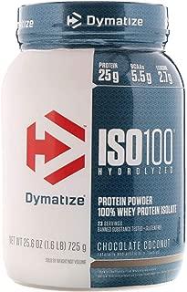 Dymatize ISO 100 Hydrolyzed Whey Protein Powder Isolate, Chocolate Coconut, 1.6 Pound