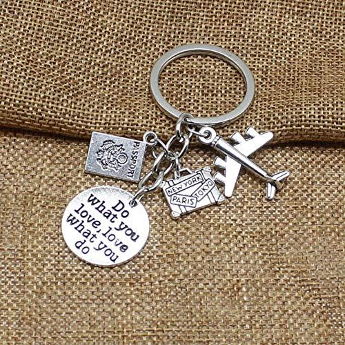 N/ A Doe je favoriete ding sleutelhanger, land vliegtuig sleutelhanger, ongeacht waar je reist hanger sleutelhanger, vriendschap beste vriend, juweel