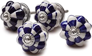 Today's Deals - Set of 4 Hand-Painted Blue and White Color Ceramic Pumpkin Knobs