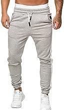 Xlala Men Jeans Loose Splice Color Matching Sport Sweatpants Drawstring Elastic Waist Pants Long Trousers Tracksuit Fitness Workout Joggers