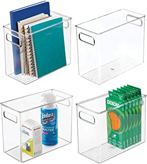 "$37 » mDesign Plastic Home, Office Storage Organizer Bin with Handles - Container for Cabinets, Drawers, Desks, Workspace - BPA Free - for Pens, Pencils, Highlighters, Notebooks - 5"" Wide, 4 Pack - Clear"