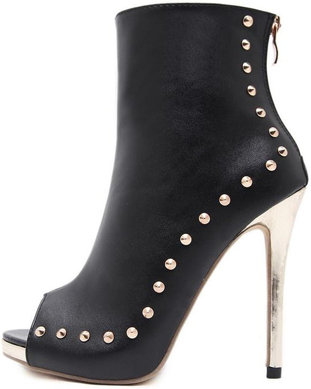 FORTUN High-Heeled shoes Leaking Toe Zipper Women's shoes Rivet Platform Sandals
