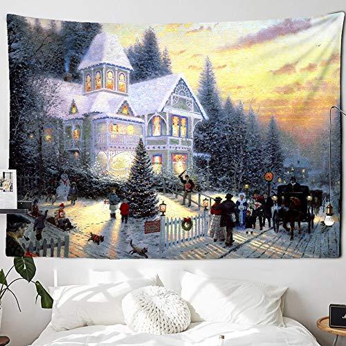 KHKJ Tapiz navideño con Chimenea y Nieve para Colgar en la Pared, Tapiz navideño para decoración del hogar, tapices con Estampado A7 200x150cm