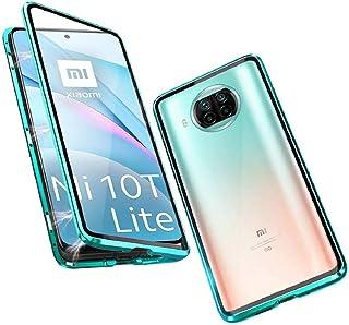 متوافق مع Xiaomi Mi 10T Lite 5G حافظة امتصاص الإطار المعدني المغناطيسي غطاء شفاف أمامي وخلفي من الزجاج المقسى 360 درجة غطا...