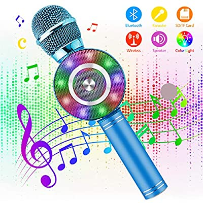 Wireless Karaoke Microphone - NASUM 3-in-1 Portable Karaoke Player Built in bluetooth 4.1 Speaker Machine for Android/IOS, PC or All Smart-phone, for Singing/Karaoke/Recording (sky blue)