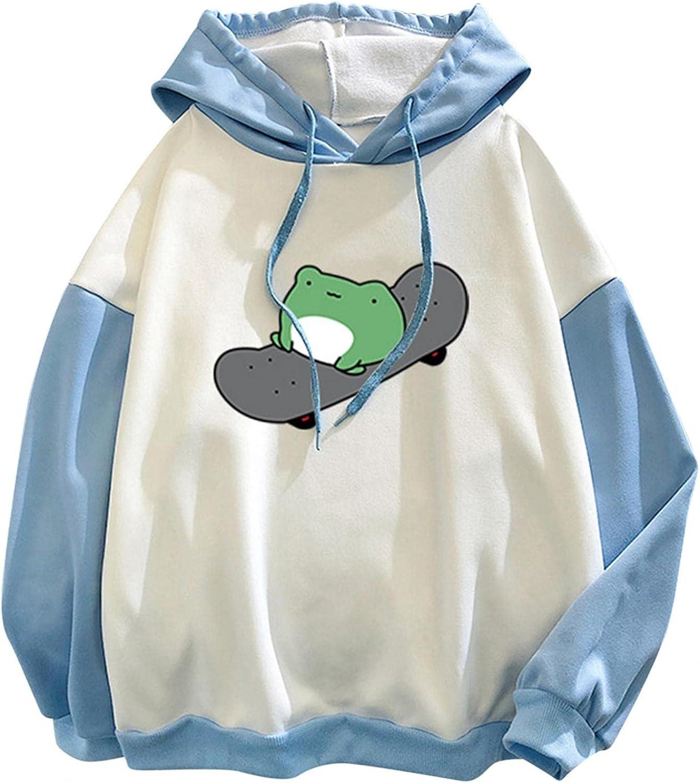 TAYBAGH Hoodies for Women Pullover,Cute Sweatshirts for Teen Girls Pocket Frog Print Long Sleeve Hooded Loose Shirt Tops