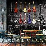 Papel pintado Retro nostálgico Rock música afiche de guitarra Pared de fotos cuadro Bar KTV Lobby Living mural decoración de habitación pegatina-250x200cm(WxH)