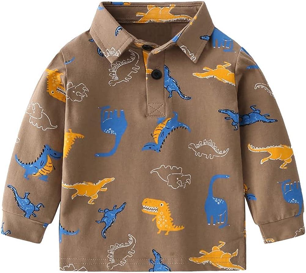 Mud Kingdom Little Boys Long Sleeve Polo Shirt Cartoon Dinosaur Turn-Down Collar