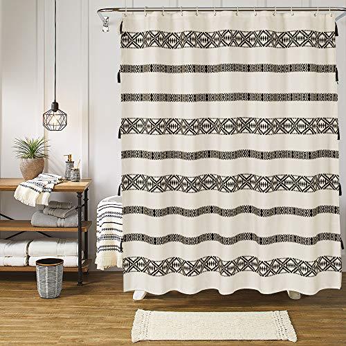 Uphome Tassel Shower Curtain Boho Beige and Black Geometric Striped Fabric Shower Curtain Set with Hooks Chic Bathroom Decor,Heavy Duty Waterproof, 60x72