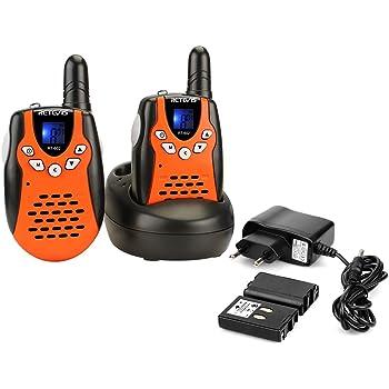 Retevis RT602 Talkie Walkie Enfants Rechargeable PMR446 8 Canaux 10 Tonalités d'Appel Verrouillage du Clavier Lampe Torche avec Batteries et Chargeur (Orange, 1 Paire)