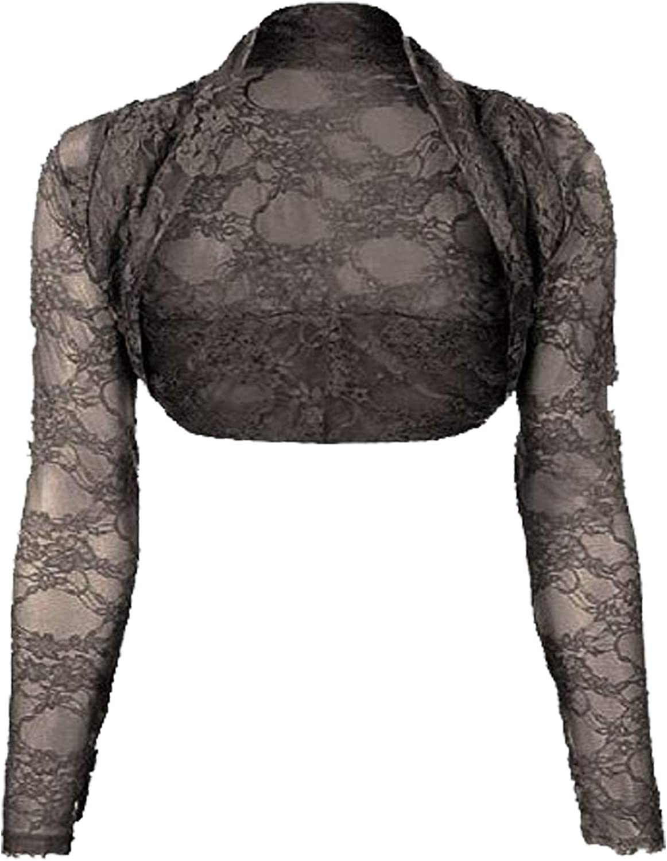 Womens Lace Long Sleeved Shrug (ONE SIZE 6-12, DARK GREY)
